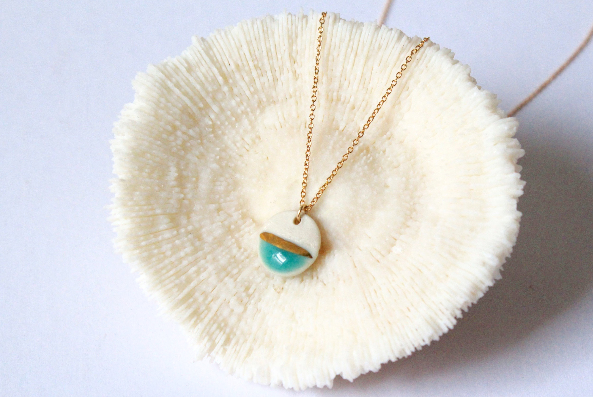 Gold Striped Circle Turquoise Necklace