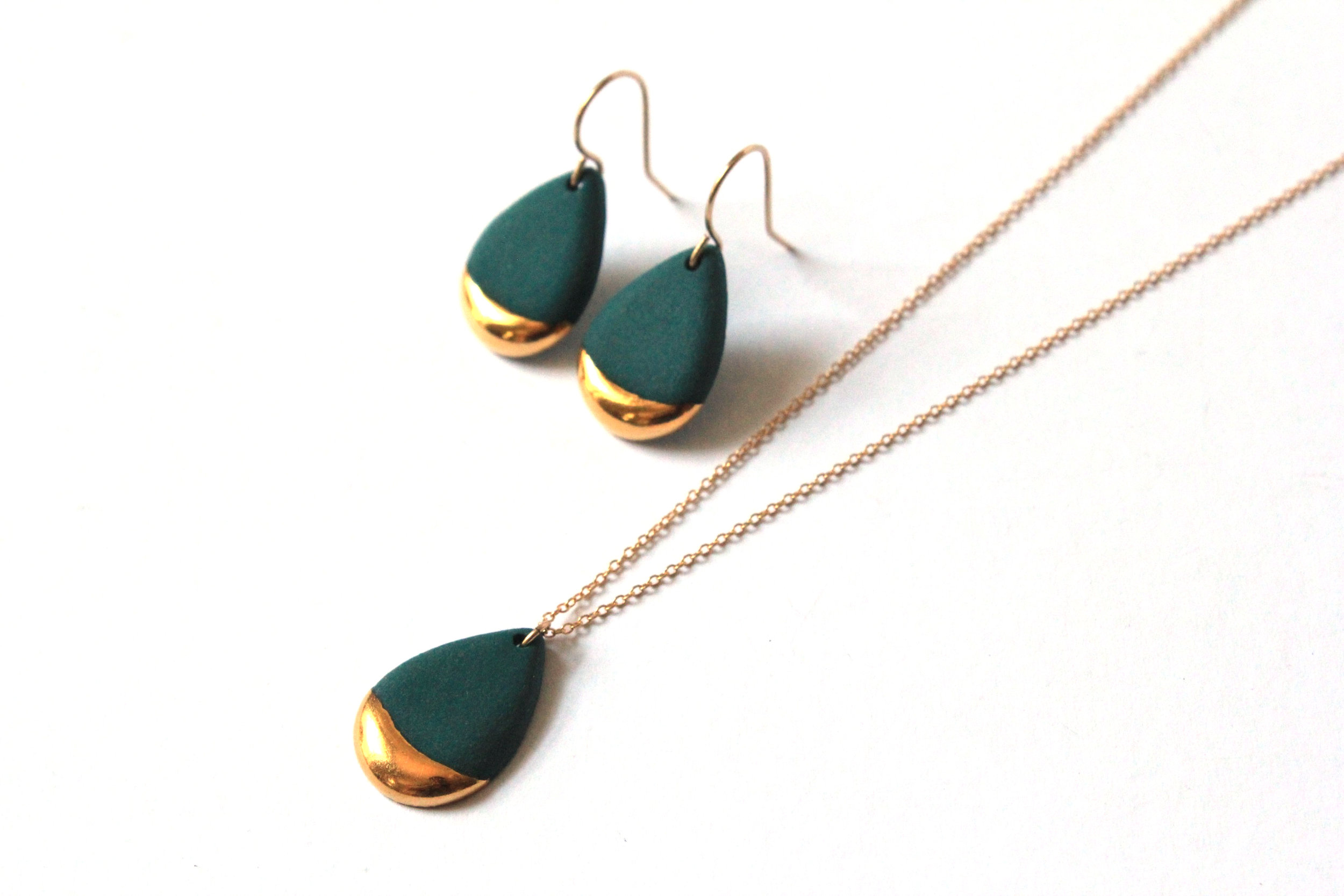 Gold Dipped Teardrop Collection in Teal