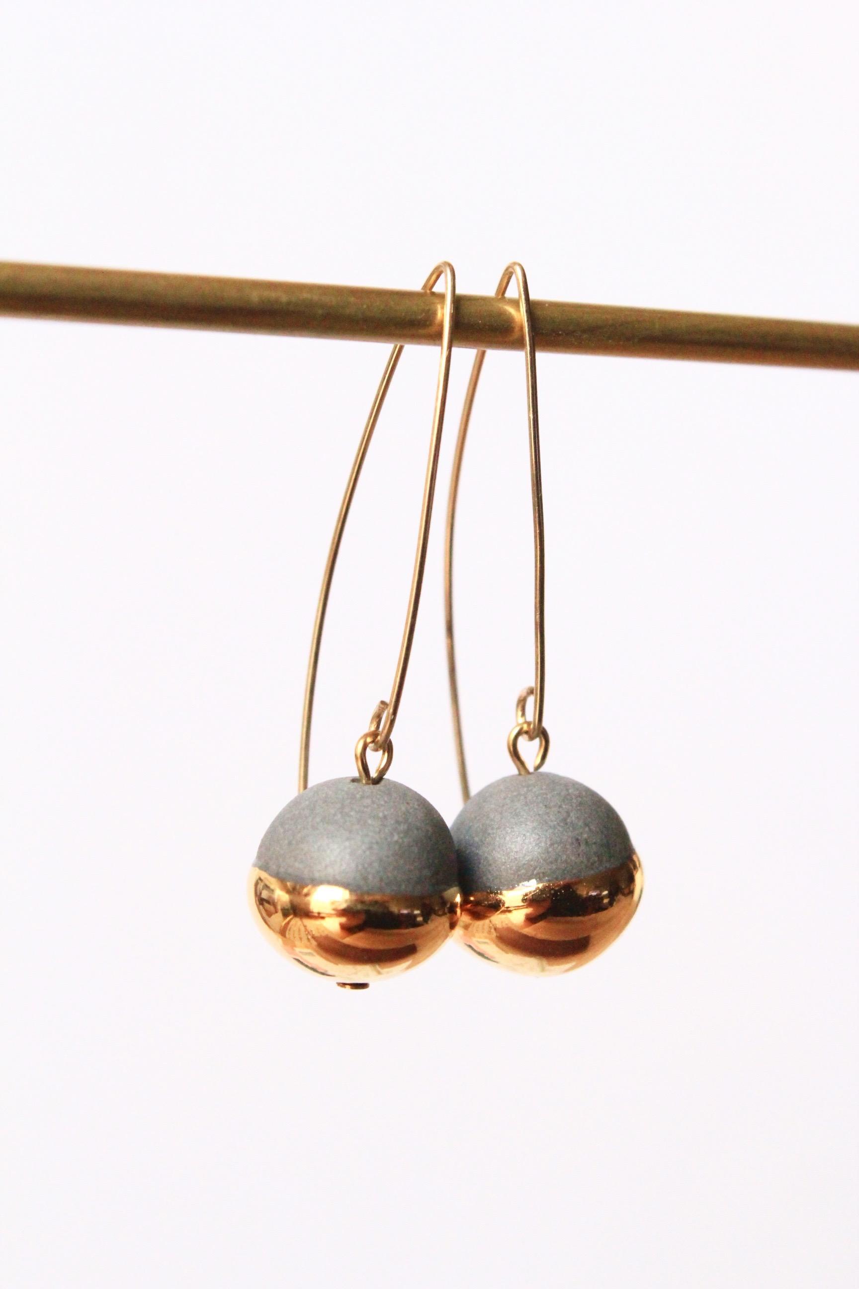 Gold Dipped Pearls Grey Earrings