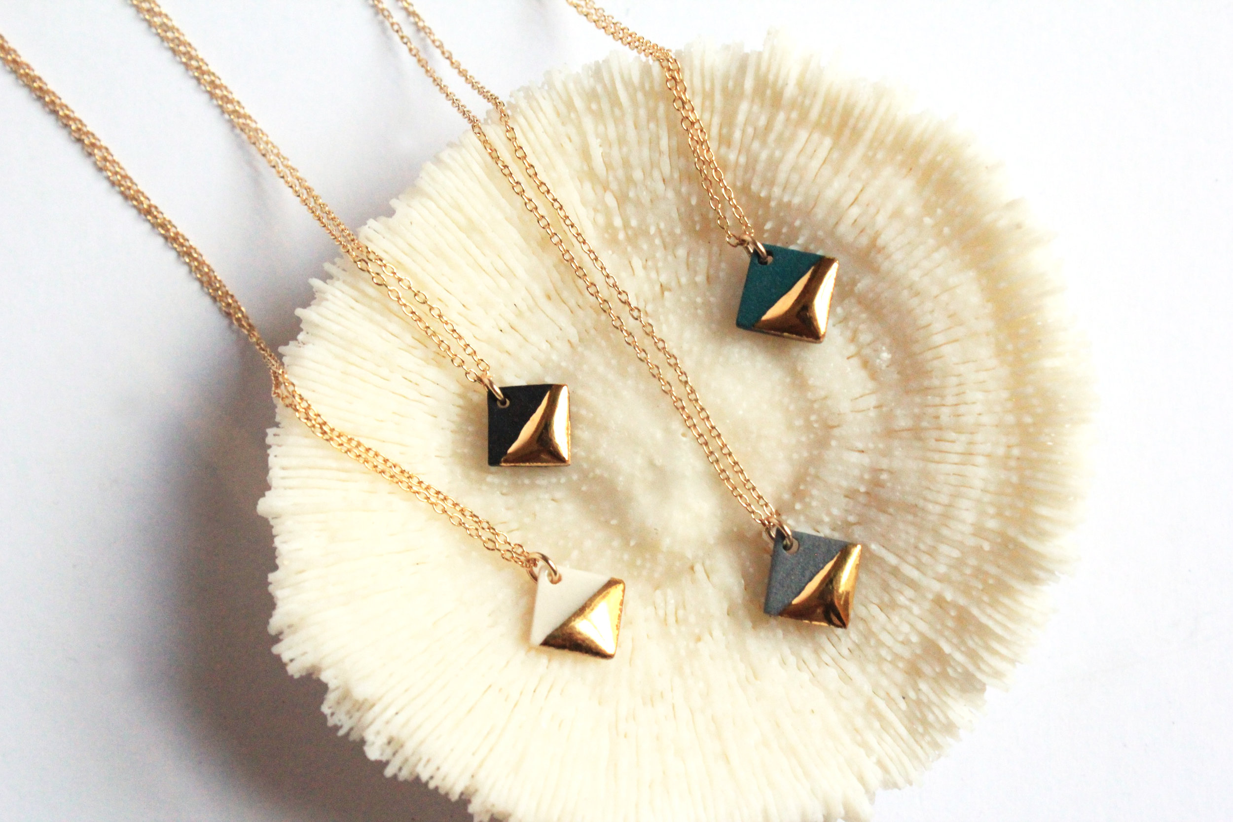 Gold Dipped Square Necklace