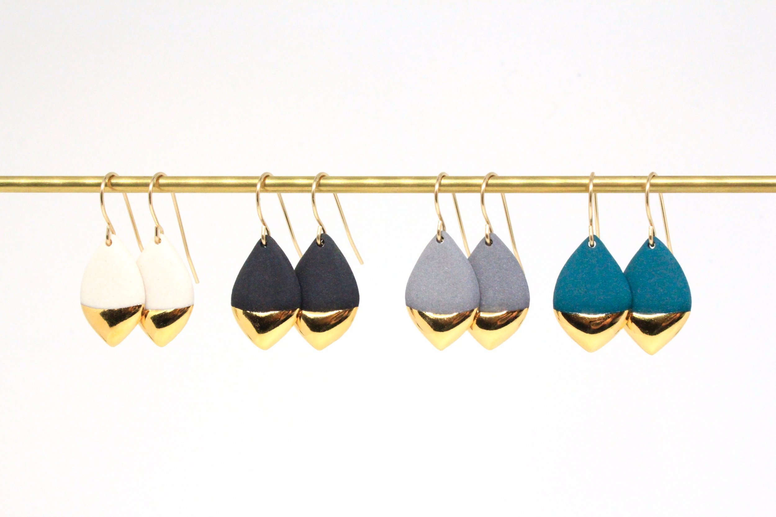 Gold Dipped Marquise Earrings