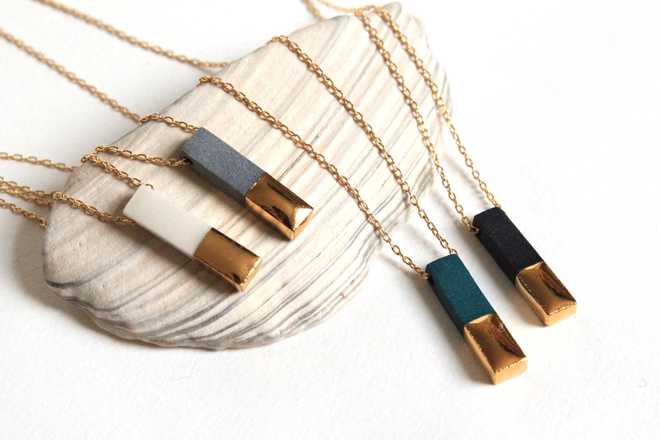 Gold Dipped Bar Necklace