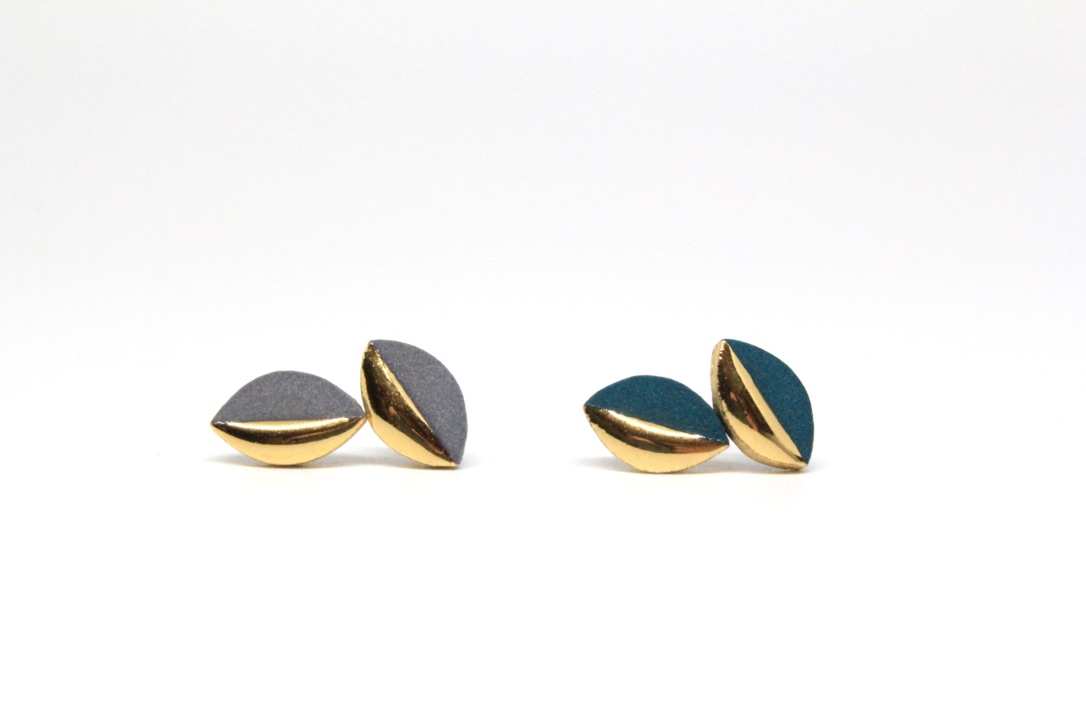 Gold Dipped Marquise Studs