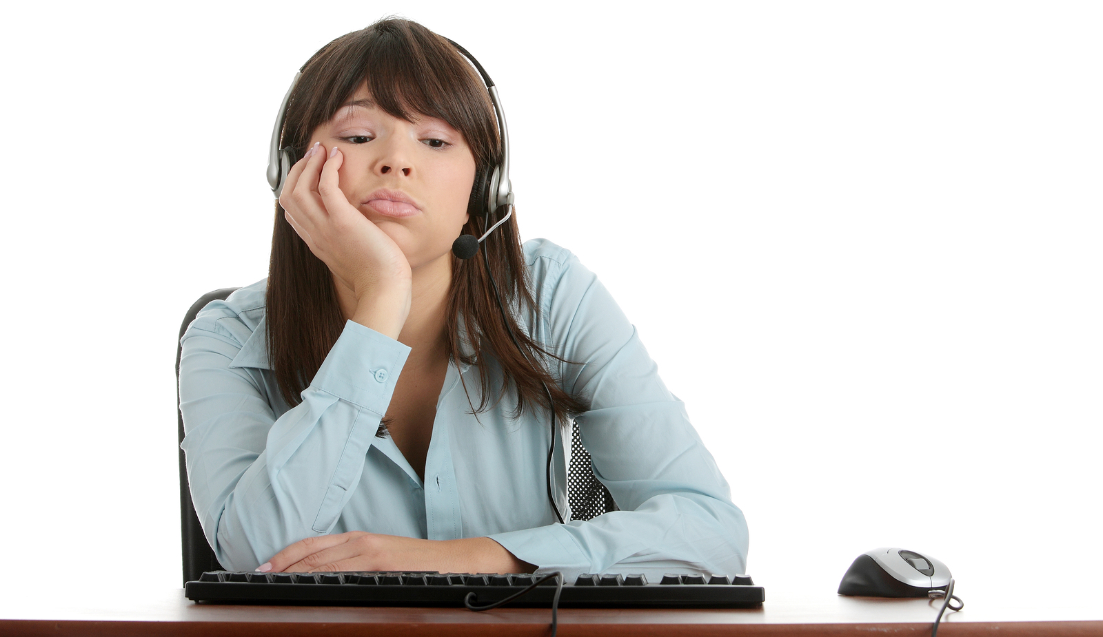 Bored contact center agent feeling burned out.
