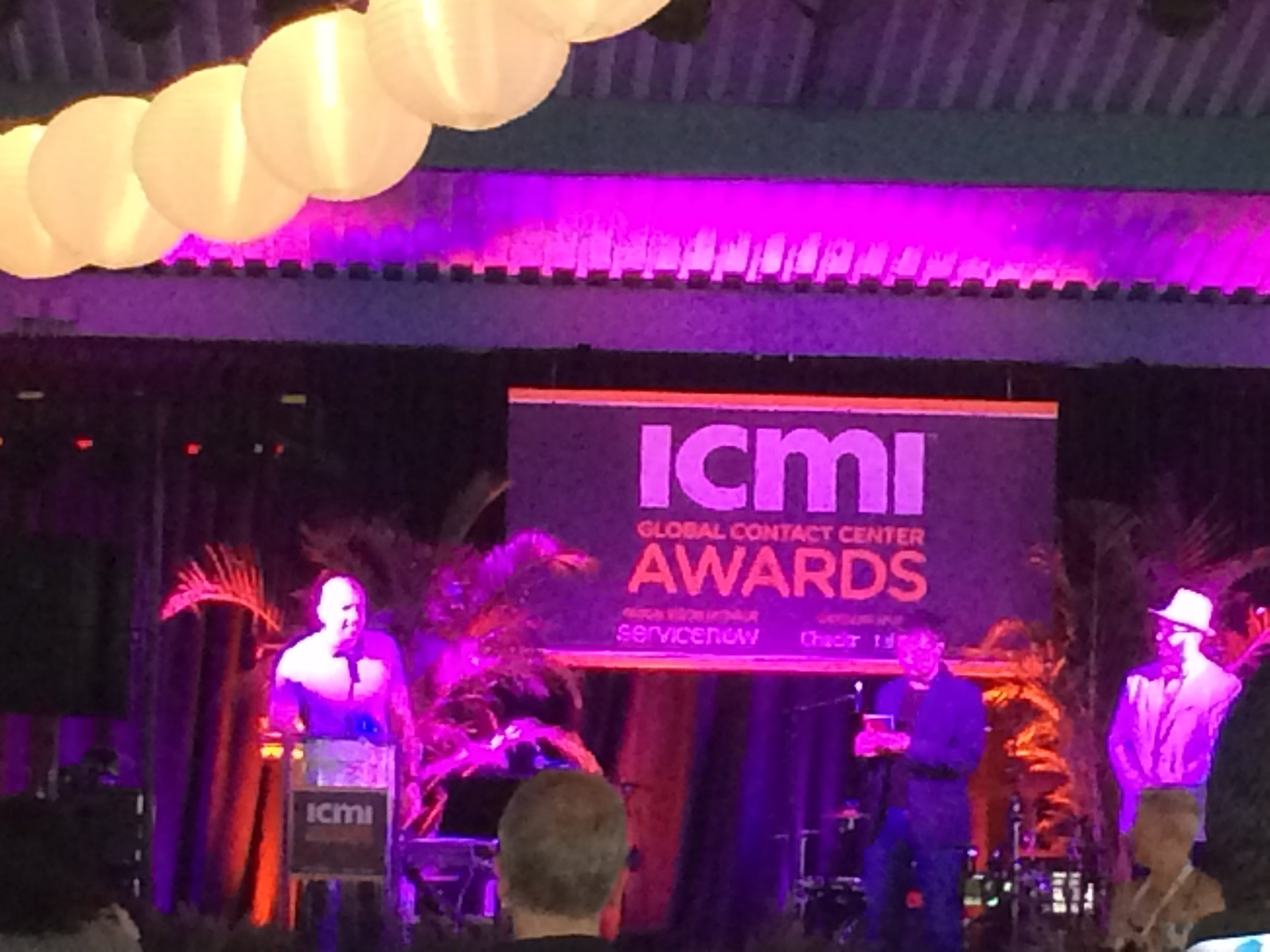 Obligatory blurry photo. From left to right: Marc Dyer, David Perry, and Justin Robbins (ICMI's head of award judges and content director)