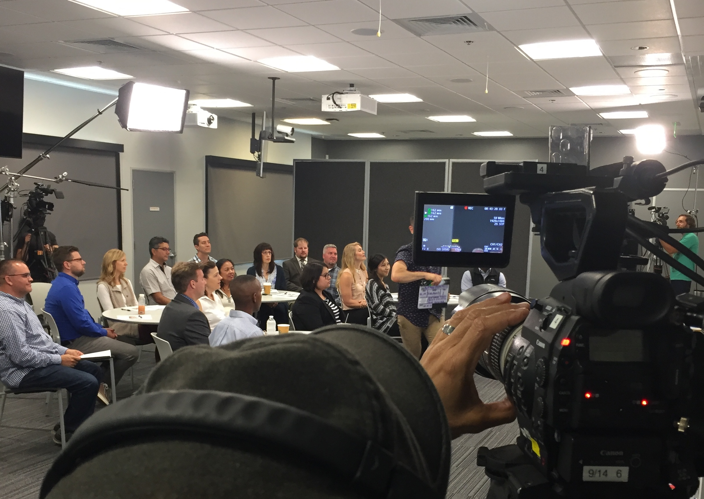 Part of the course was filmed in front of a live class. Photo credit: Samantha Coveleski-Mazur