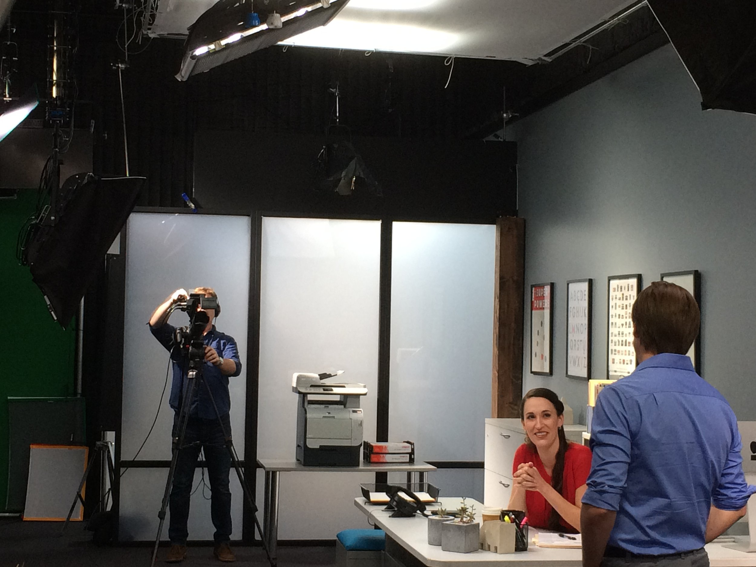 On the set of  Serving Internal Customers.  Photo credit: Jeff Toister