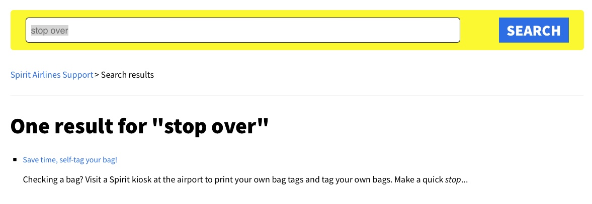 """Screen capture from Spirit Airlines website search page, looking for """"stop over."""""""