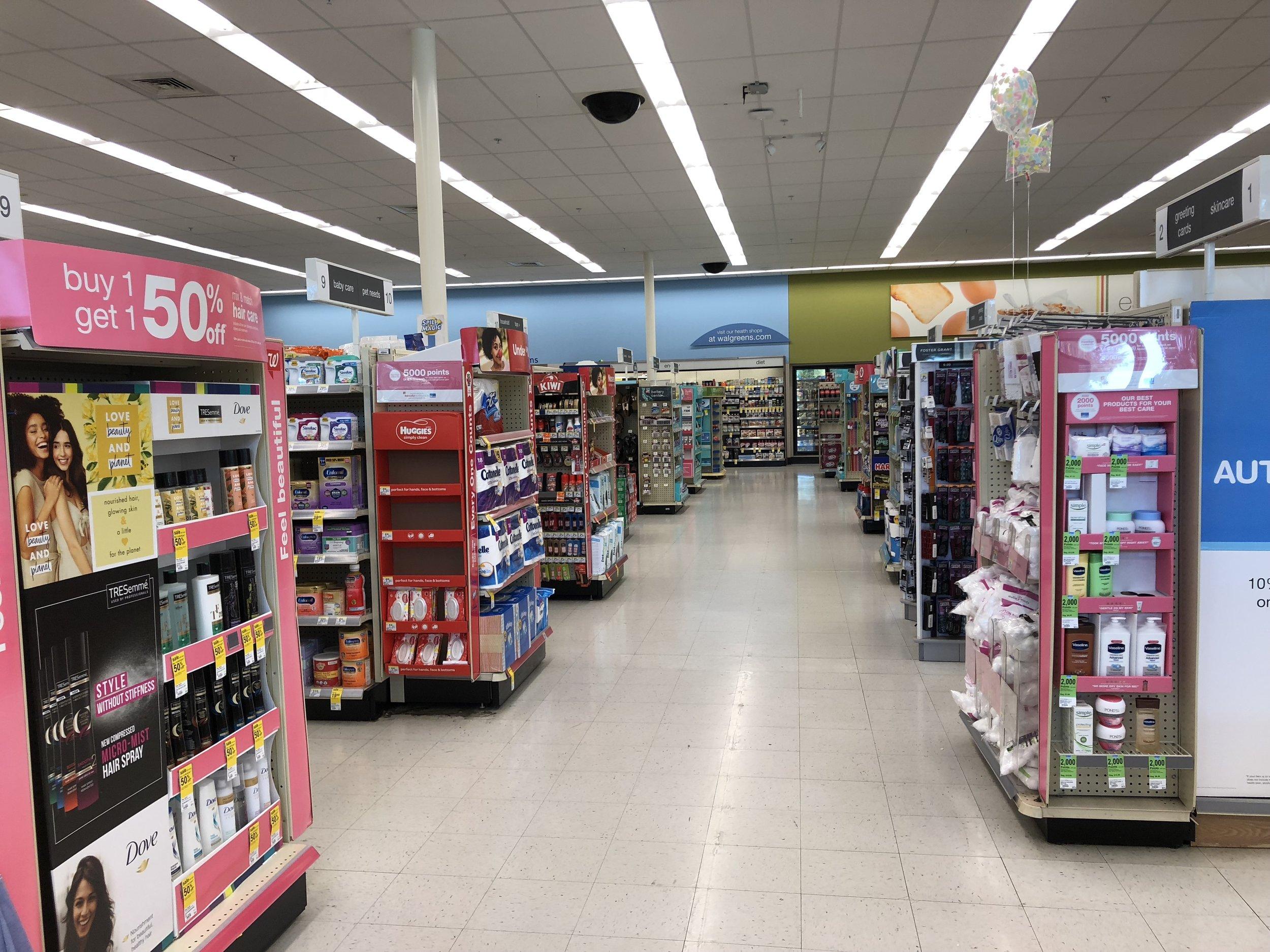 Inside a Walgreens drugstore