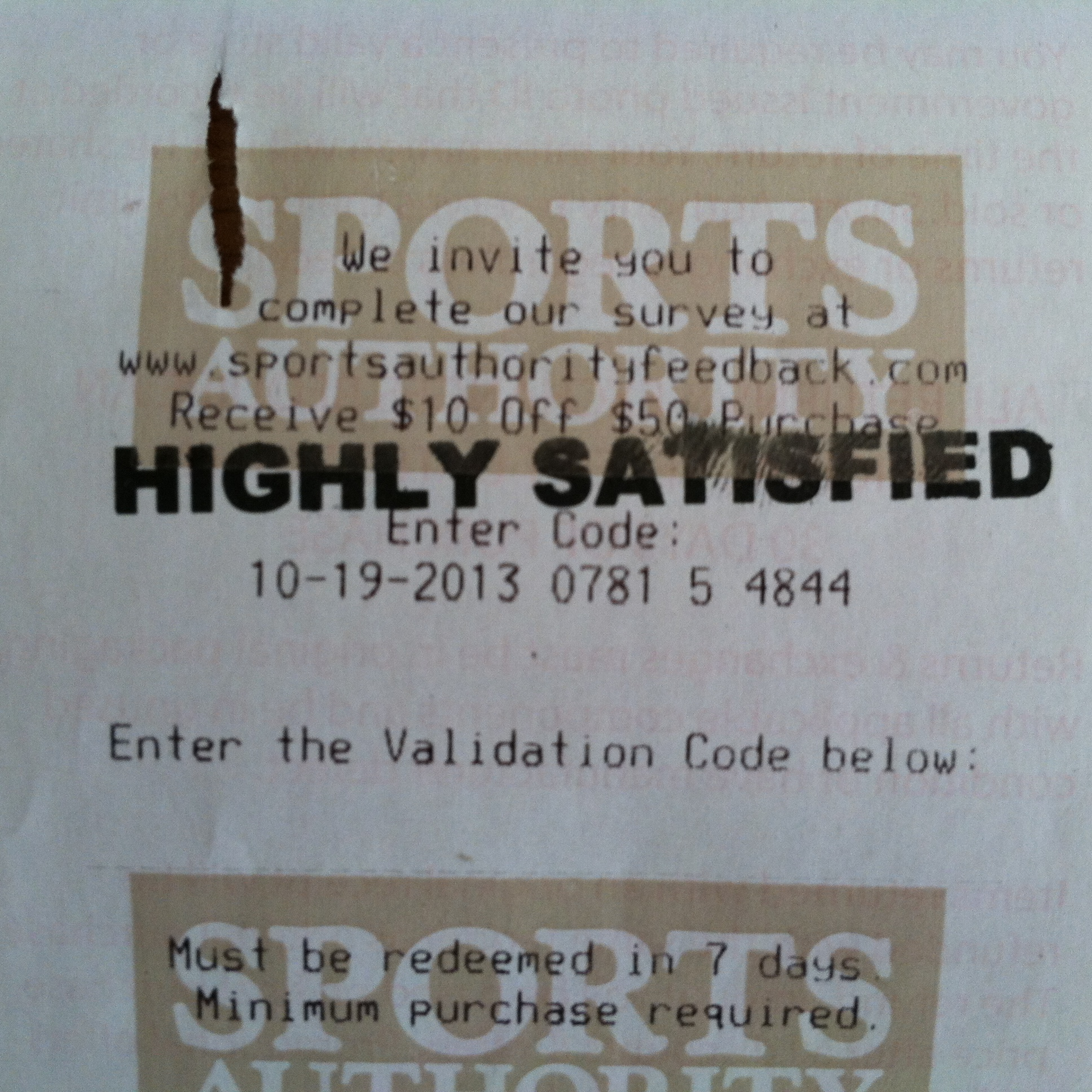"""Store receipt with survey invitation stamped """"Highly Satisfied."""""""