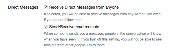 Screenshot of Twitter's Direct Message settings.