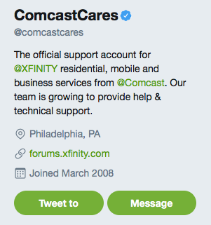 Screenshot of the Comcast Cares Twitter profile.