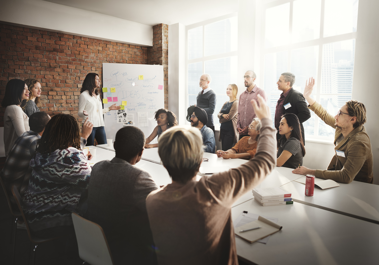 Group of professionals attending a leadership development workshop.