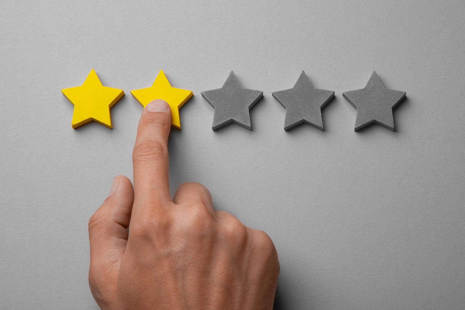 Customer giving two stars on a rating scale.