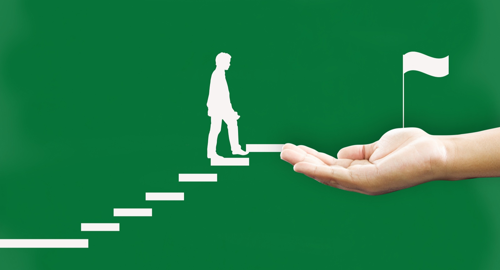 A employee climbing steps towards a goal, given a helping hand.
