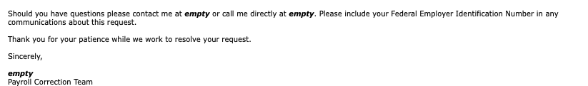 Excerpt from a customer service email.