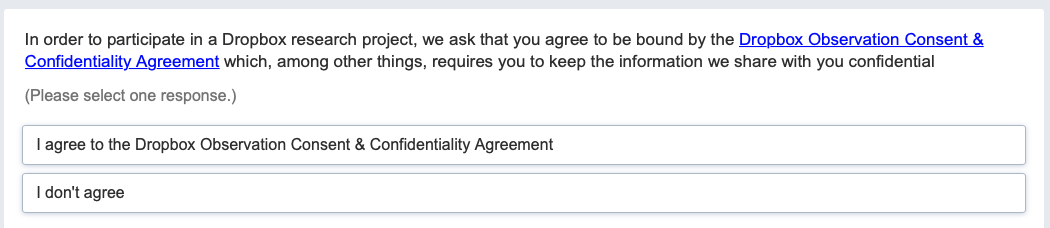 Confidentiality agreement required to take the Dropbox survey.