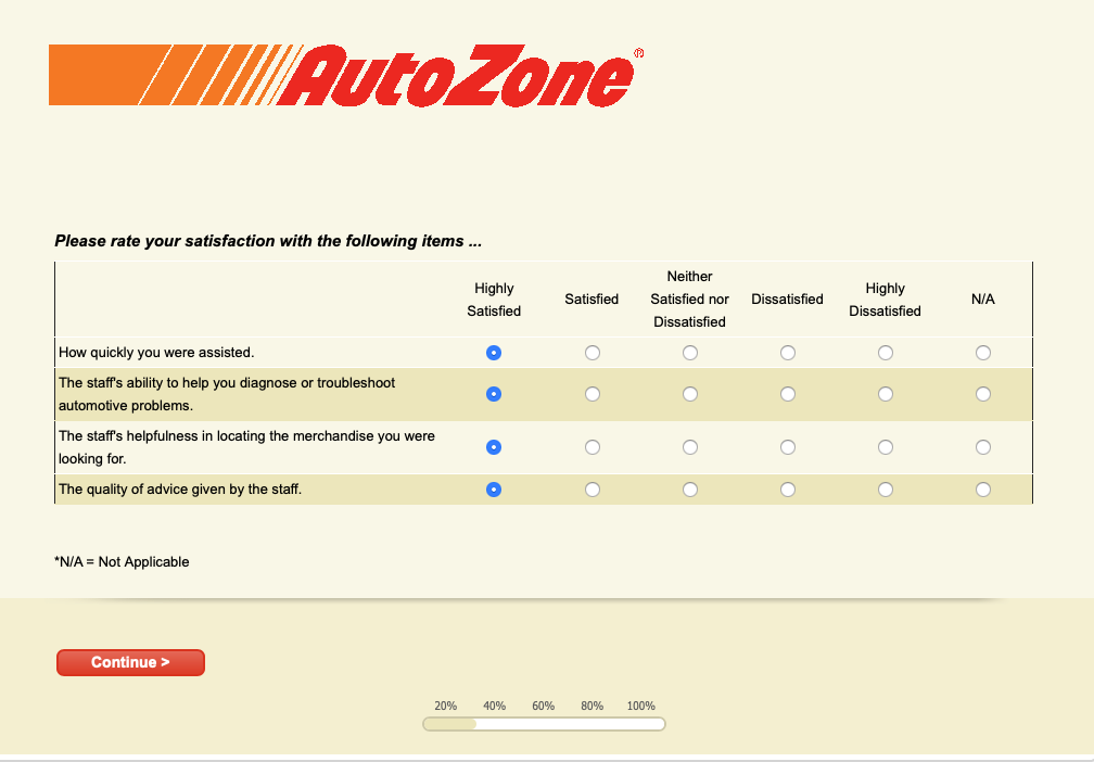 AutoZone customer service survey.