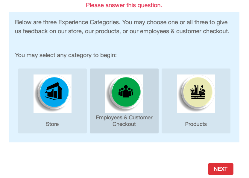 Screenshot of multi-part customer service survey from Vons.
