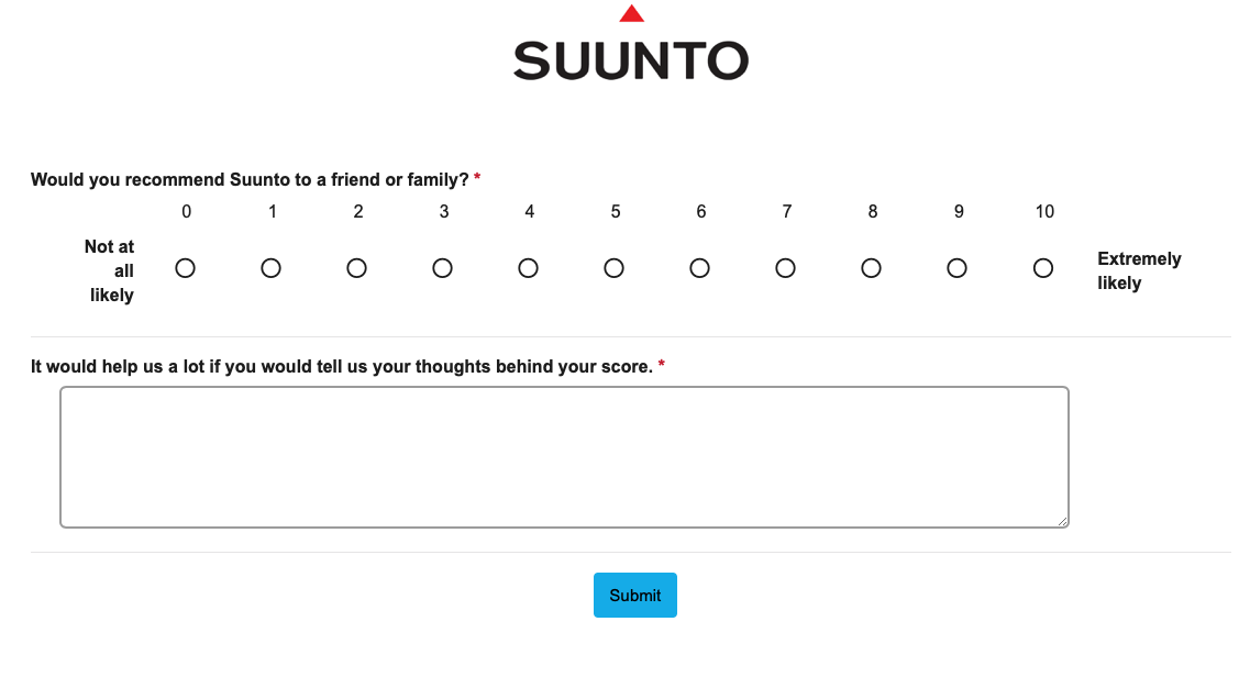 Suunto NPS survey.