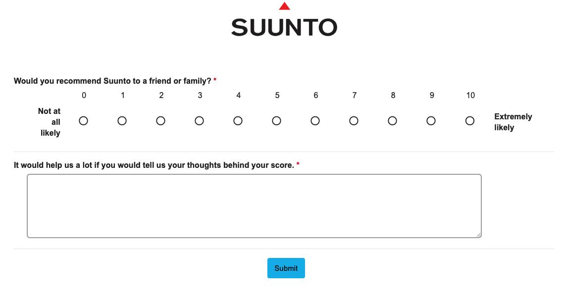 Suunto NPS survey.