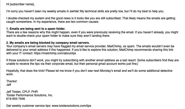Revised email template for replying to subscribers who aren't receiving emails