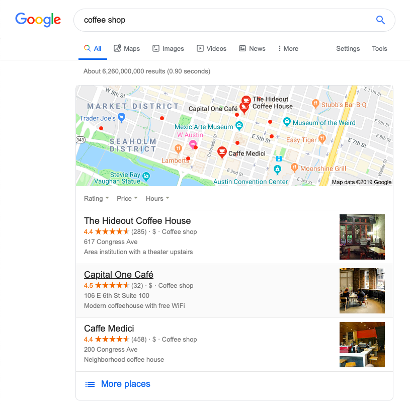 Screenshot of Google search results for Austin coffee shops.