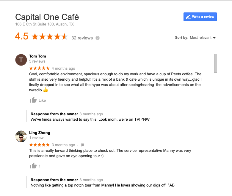 Screen shot of reviews from Capital One Cafe in Austin.