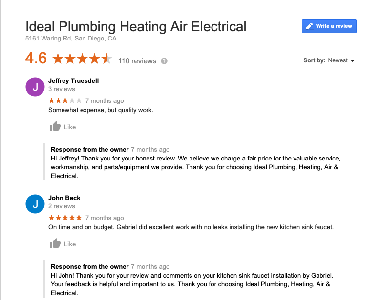 Screen shot of a Google review of Ideal Plumbing Heating Air and Electrical