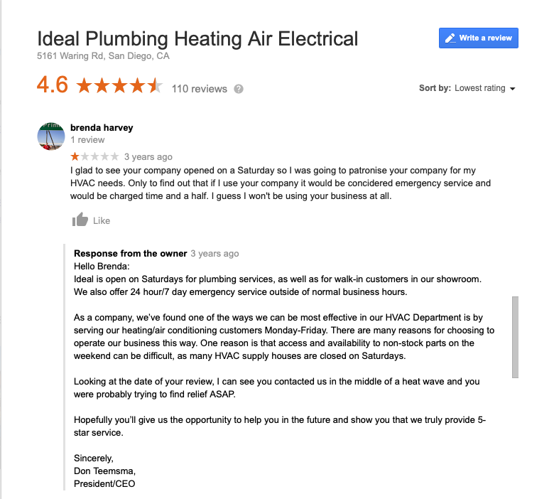 Screen shot of a customer review of Ideal Plumbing Heating Air and Electrical