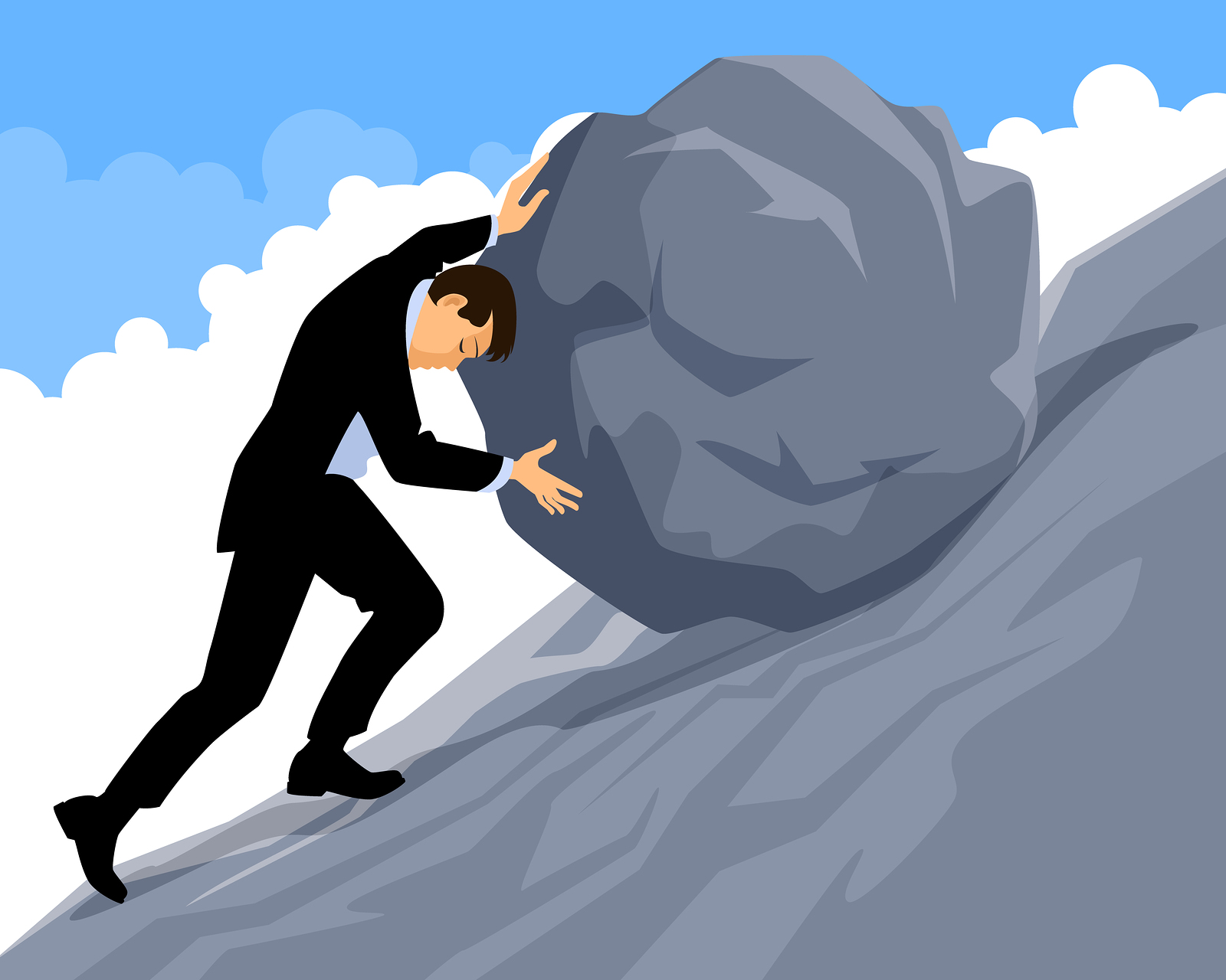 An employee struggling to push a boulder up a hill.