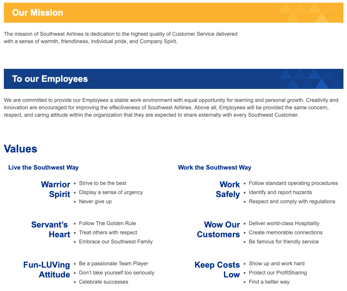 Screenshot of the culture page on the Southwest Airlines career site.
