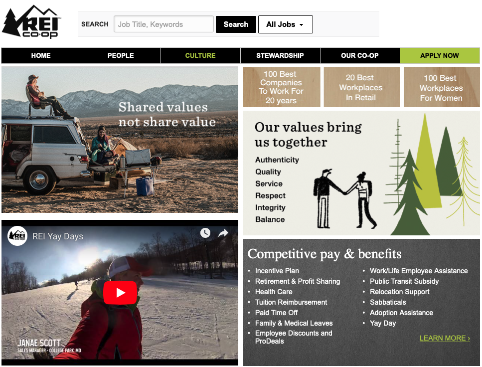 Screen shot of the culture page on the REI careers site.