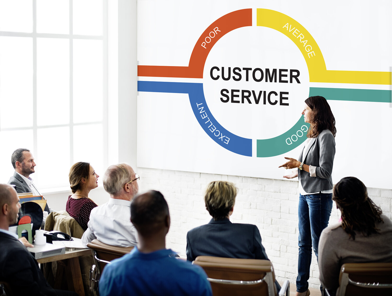 A customer service leader facilitating a training class.