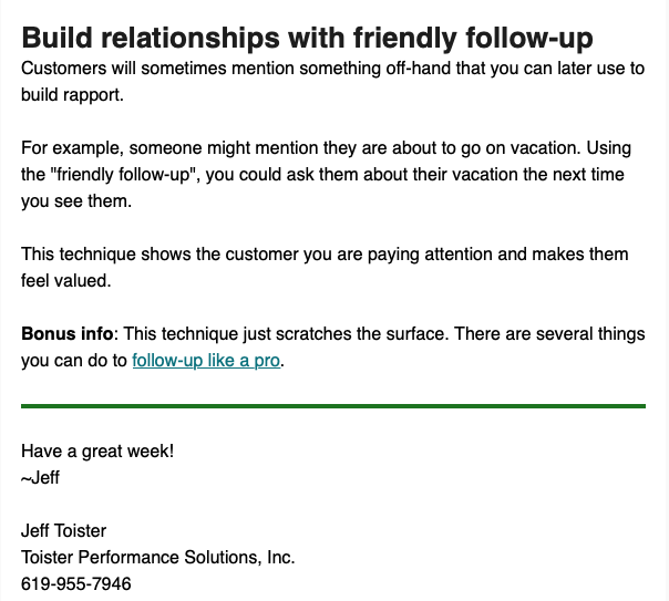 Screenshot of Customer Service Tip of the Week email.