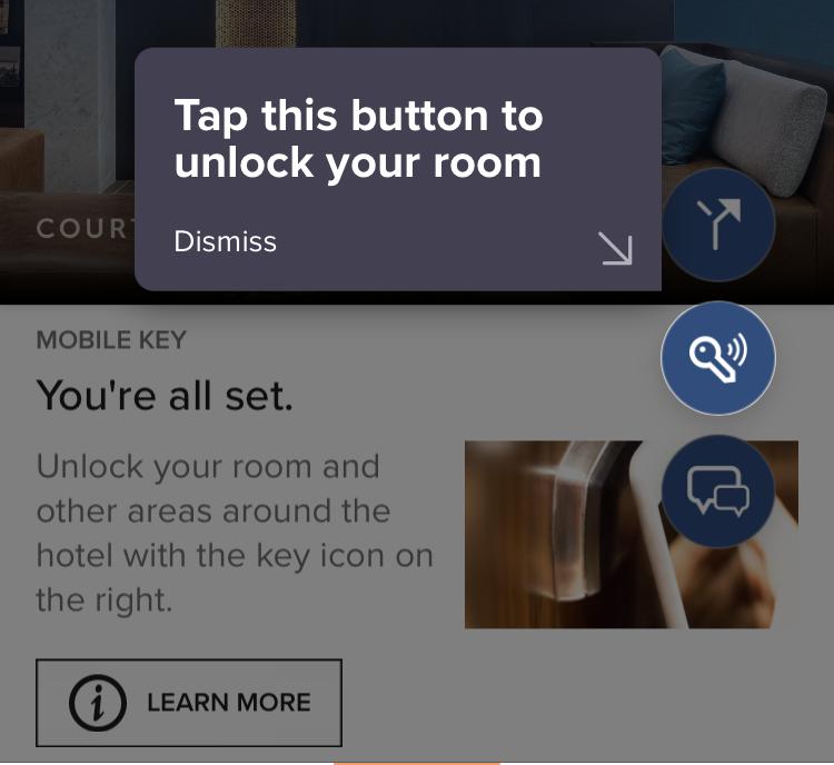 Screenshot of mobile room key on Marriott Bonvoy app.