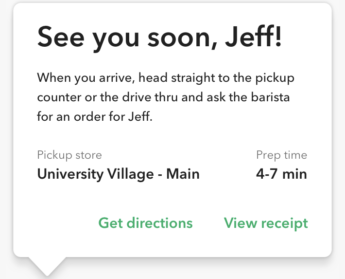 Screenshot of the Starbucks app.