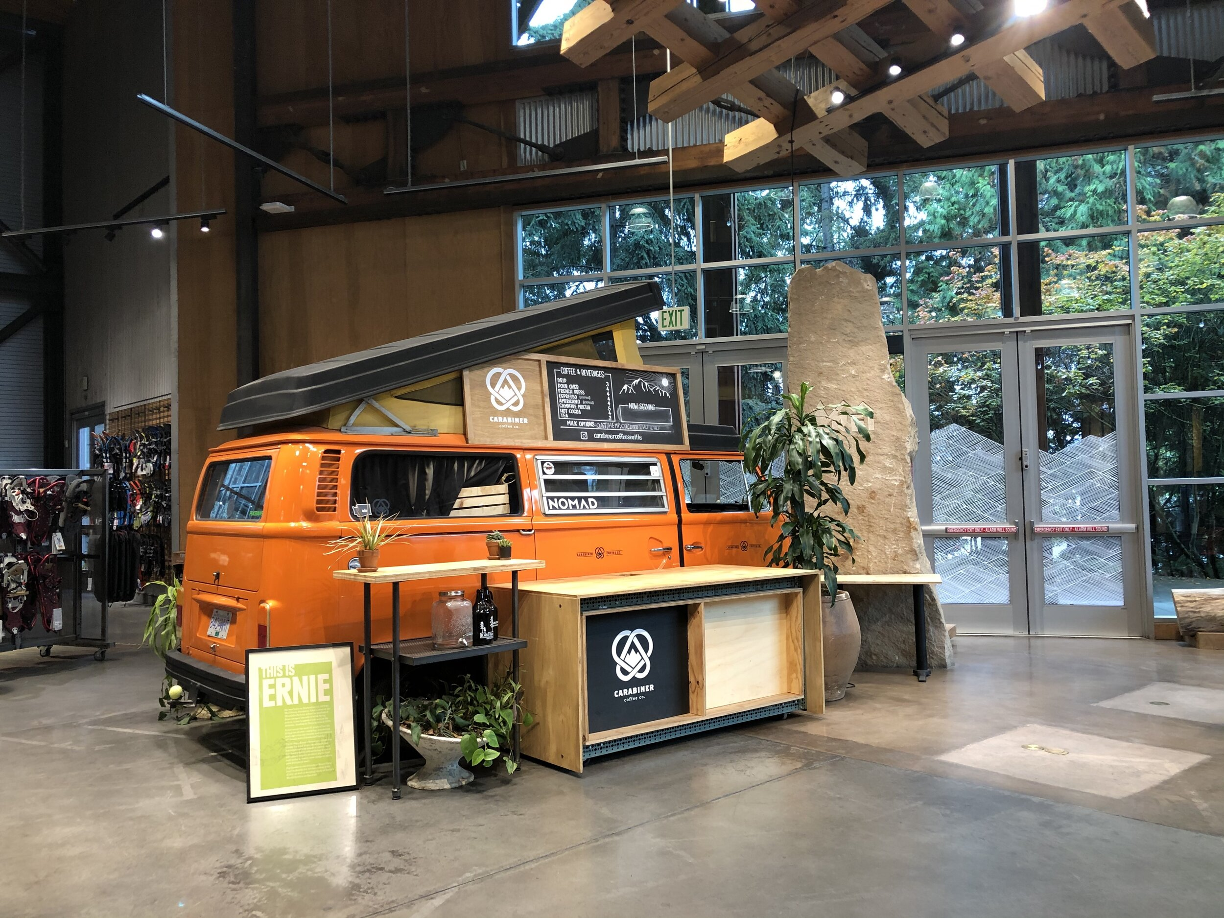 Ernie the camper at the REI flagship store.