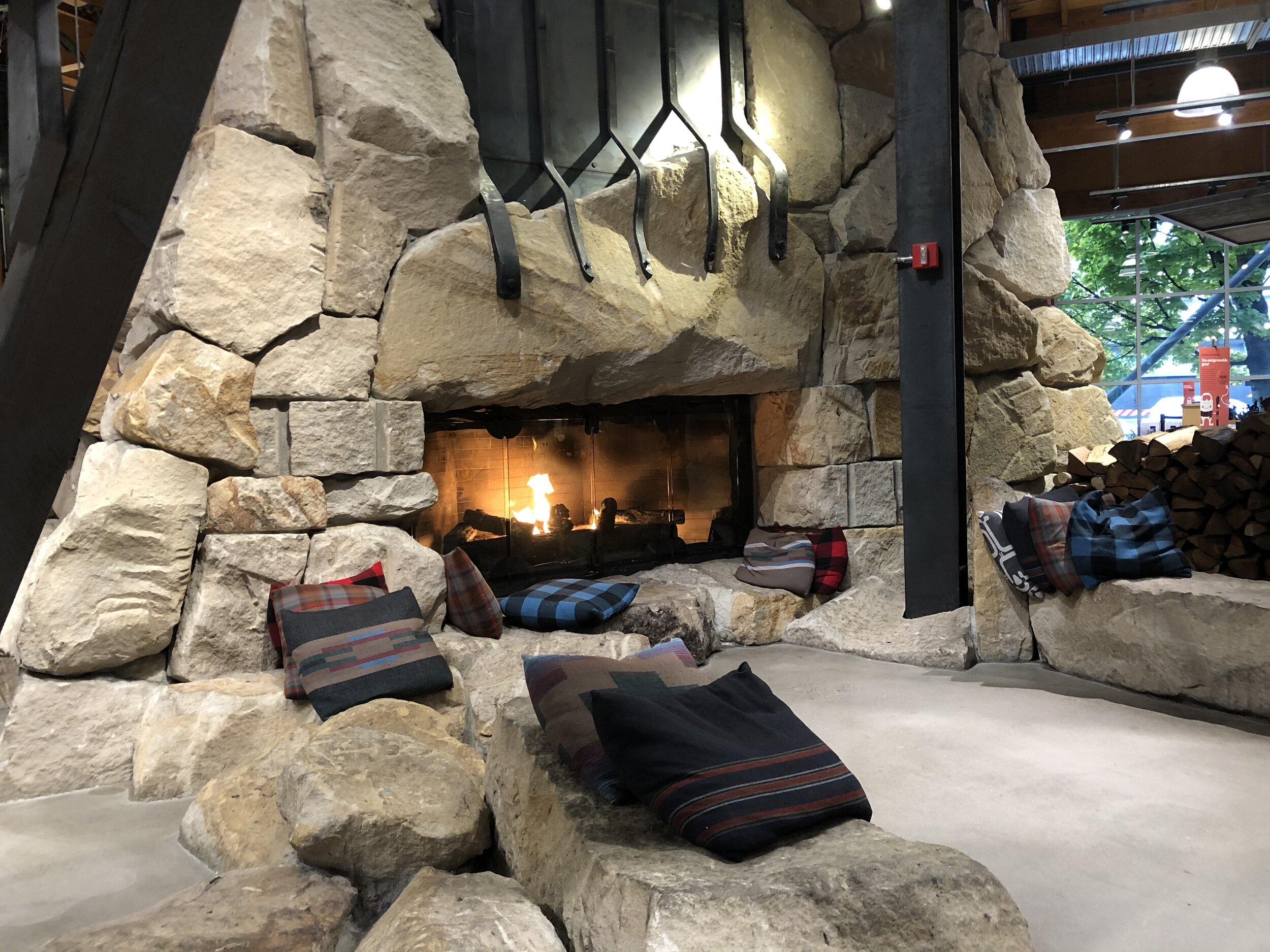 Fireplace inside the REI flagship store.