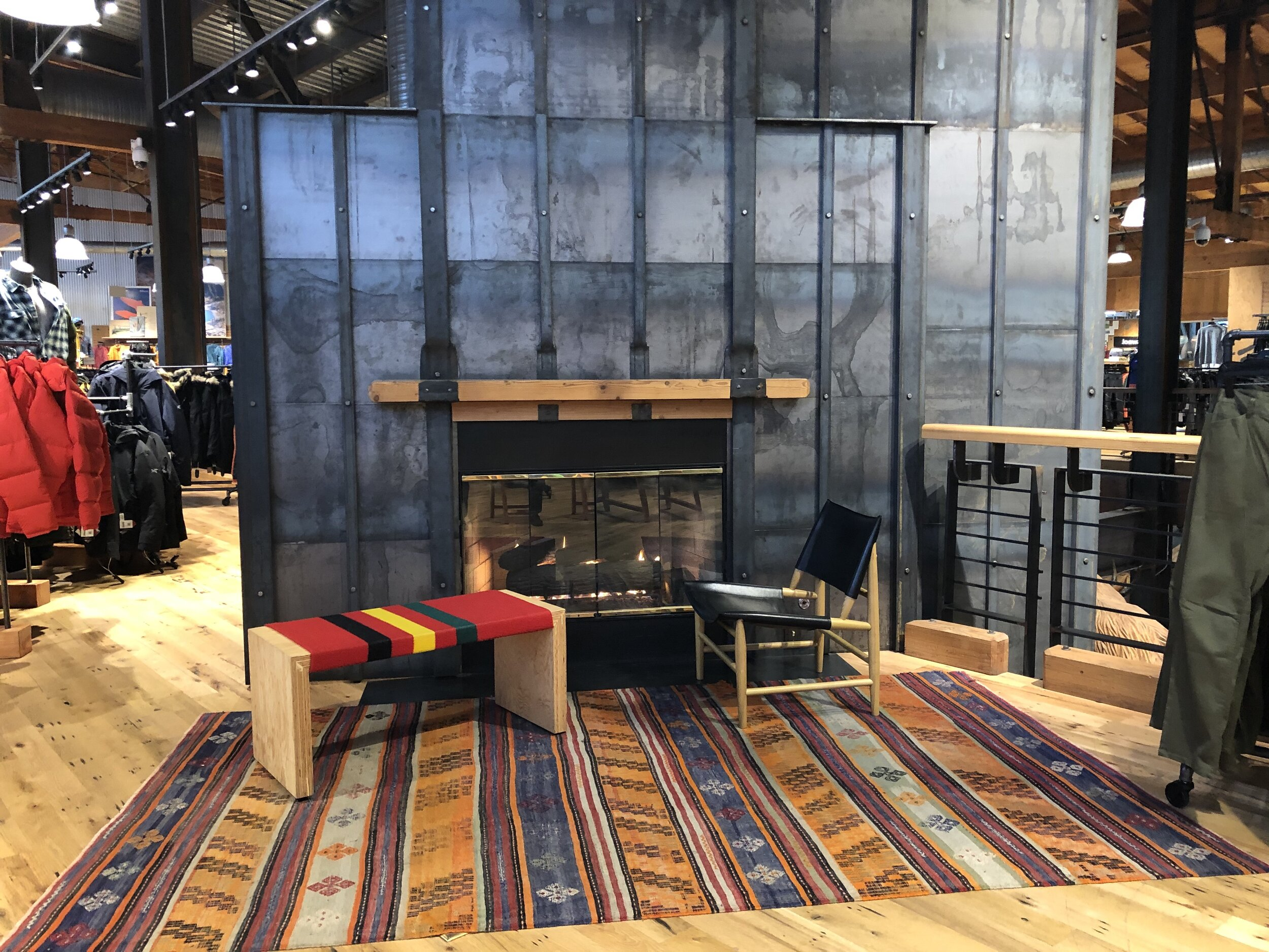 Upstairs fireplace at the REI flagship store in Seattle.
