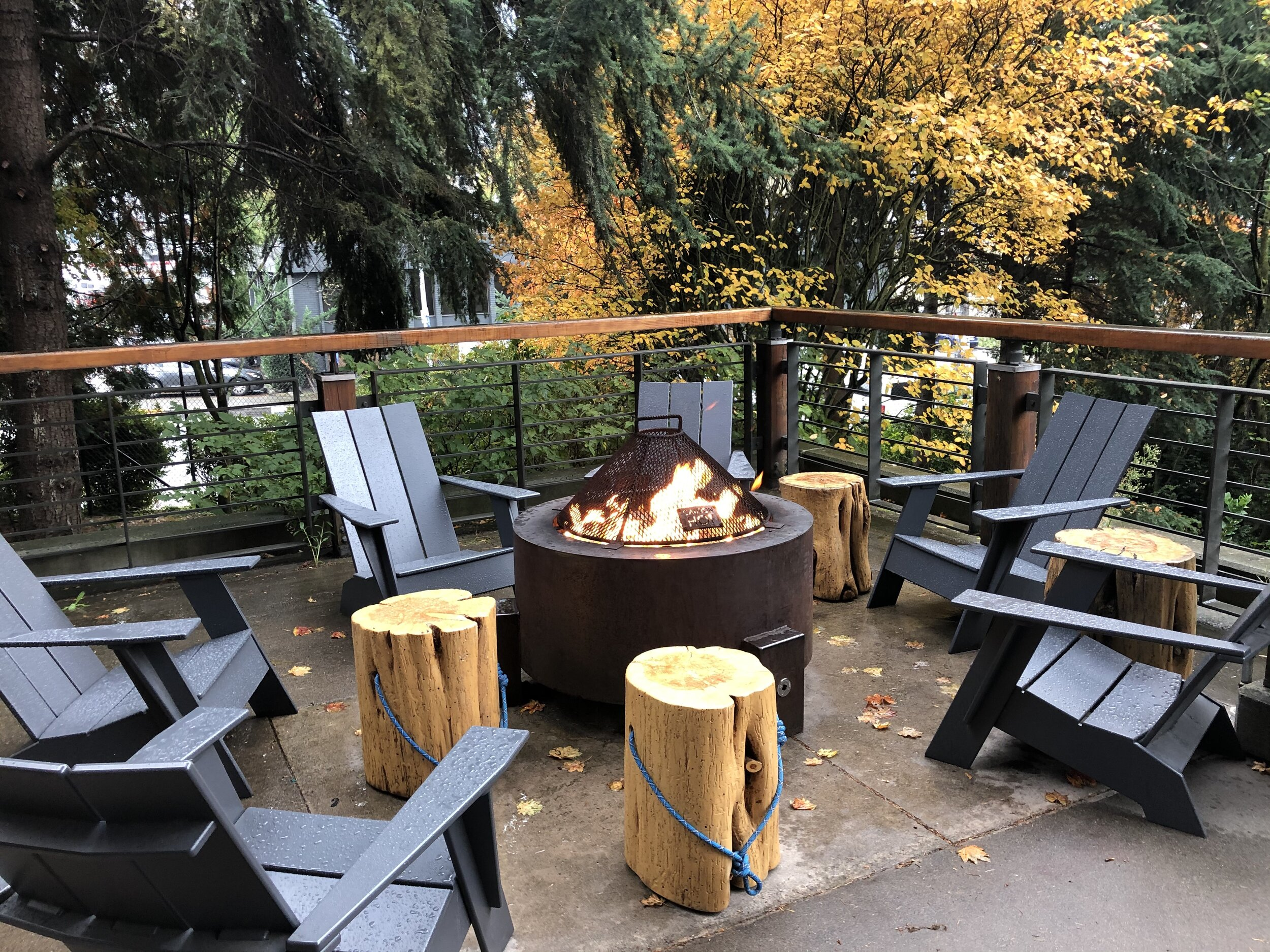 Fire pit outside the REI flagship store in Seattle.