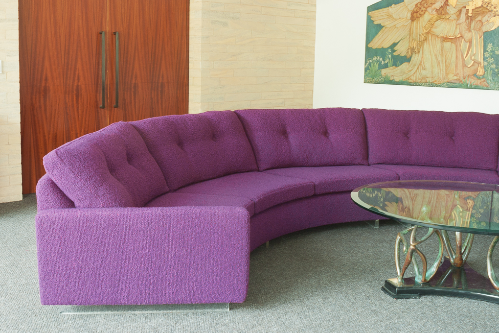 This 70's Milo Baughman sofa has had a complete overhaul and now sits proudly in its owner's home.