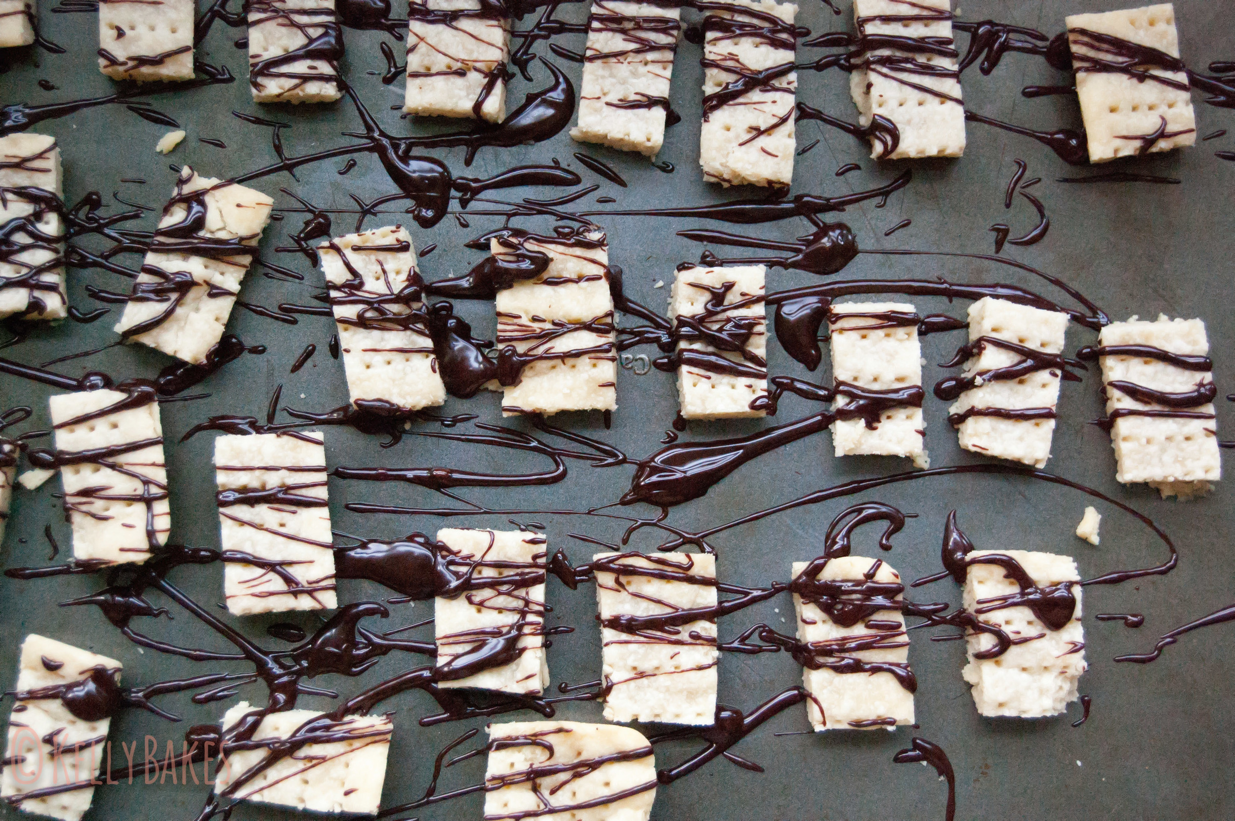 Scottish Shortbread with Chocolate Bourbon Drizzle