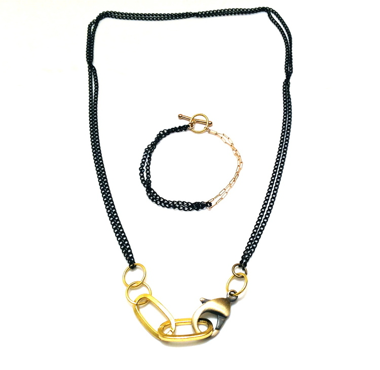 Barbara Campbell Jewelry Made In Brooklyn Black and Gold Chain Brass Necklace and Bracelet Product Design Classic Street Wear Style.jpeg