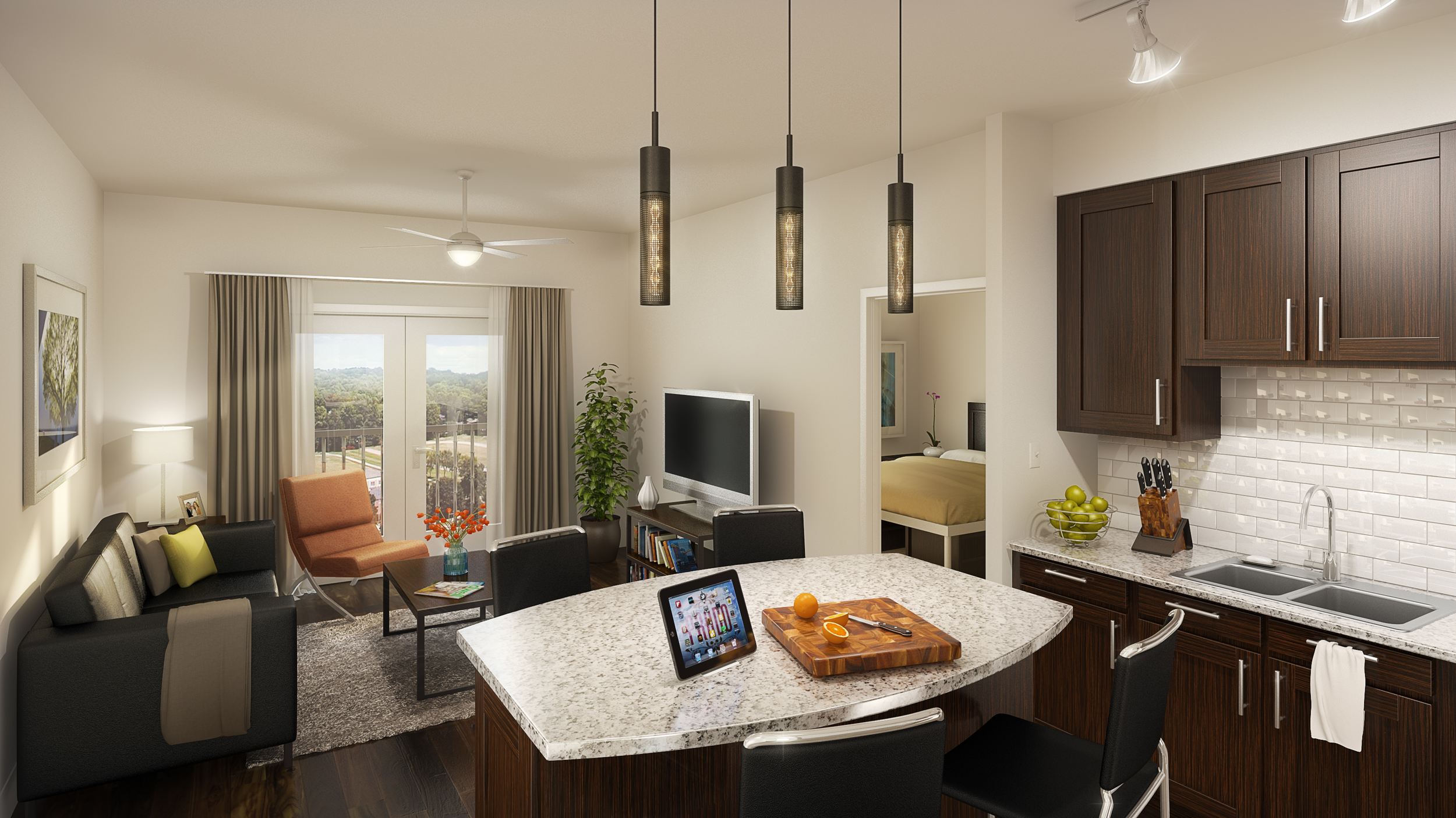 TYPICAL UNIT INTERIOR  rendering by cagleart.com