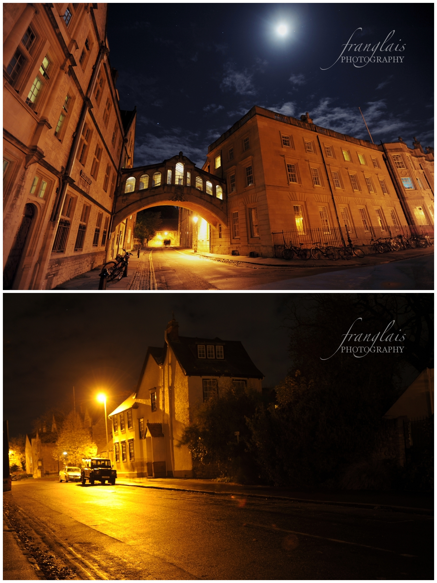 Hertford College's bridge of sighs and a 4x4 on Mansfield Road, Oxford.