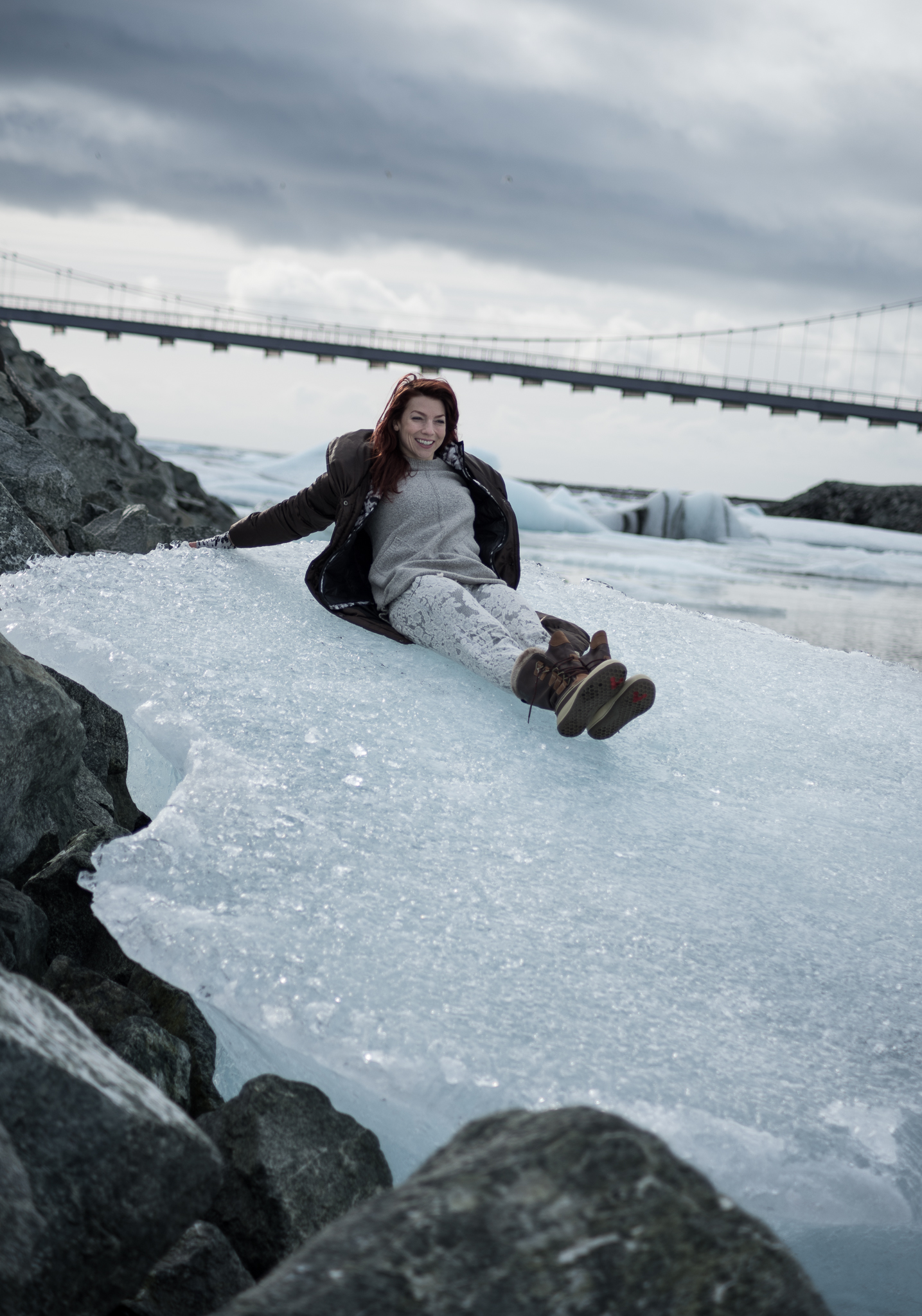 How long do you have to sit on icebergs to freeze your ass off? Depends on the pants. I was a bit more concerned about sliding into the water.