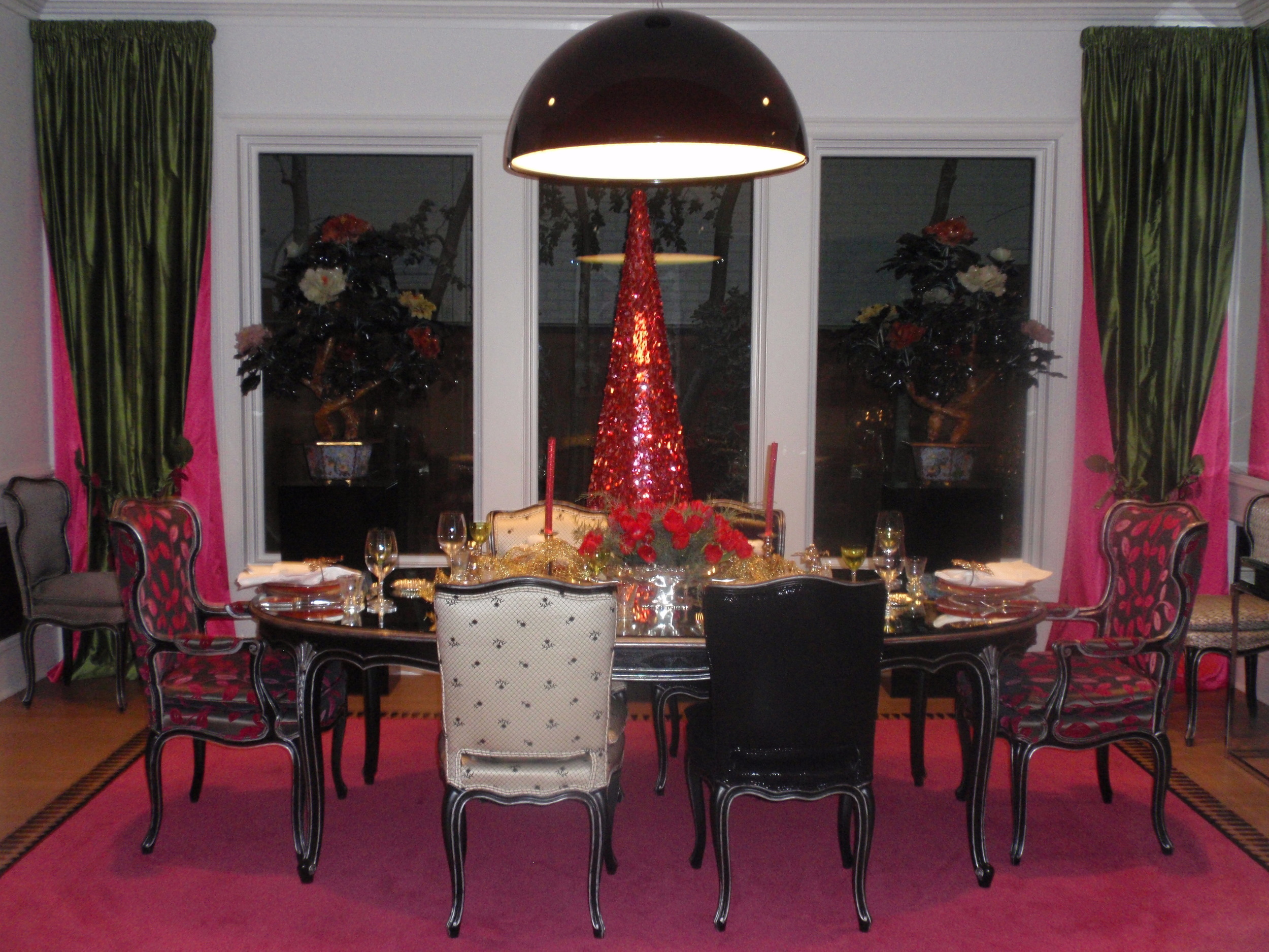 Dining room tree: a vintage 1960's shocking pink   display tree from Neiman Marcus