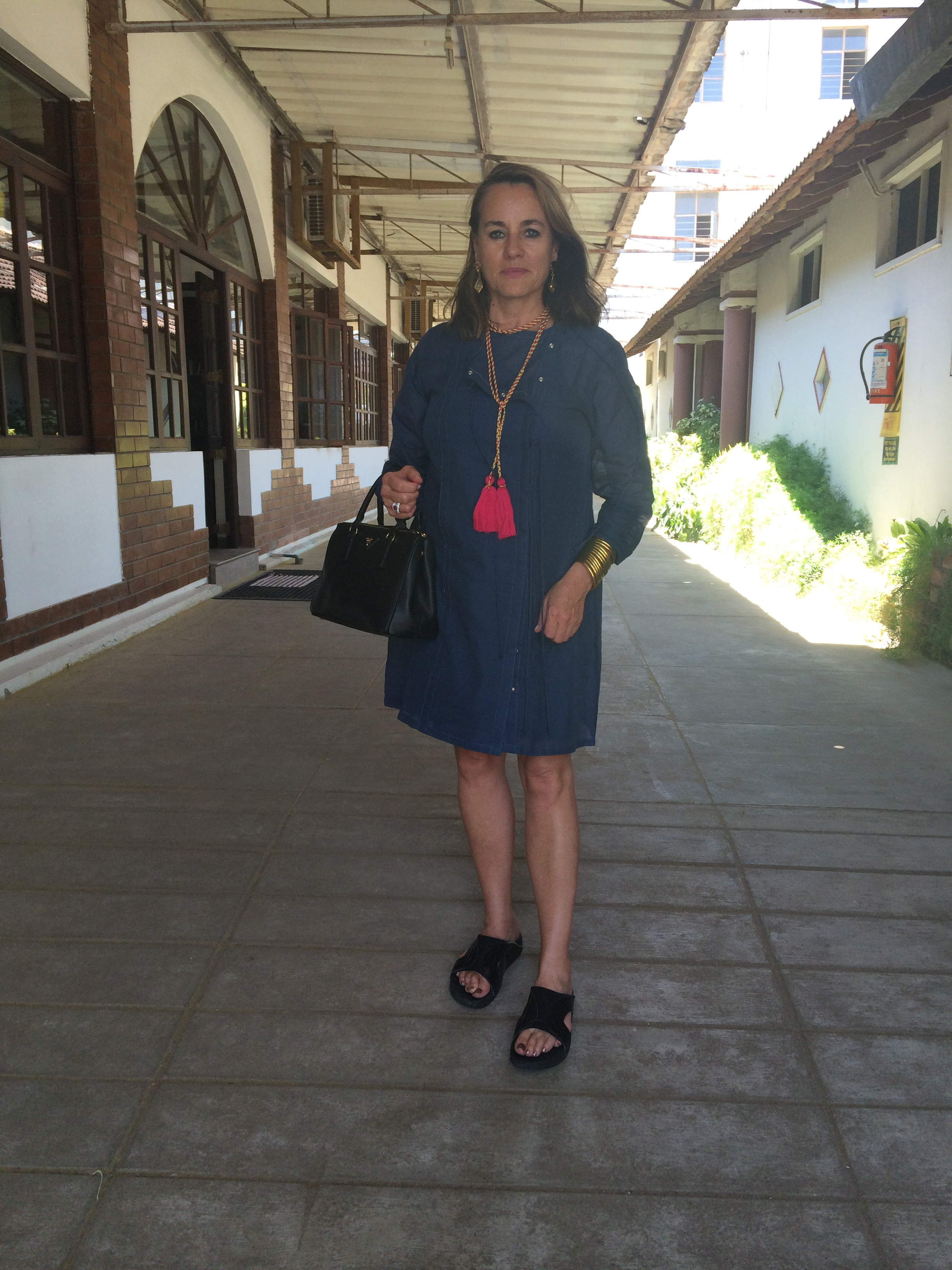 Susie at the cotton mill in Coimbatore, India.