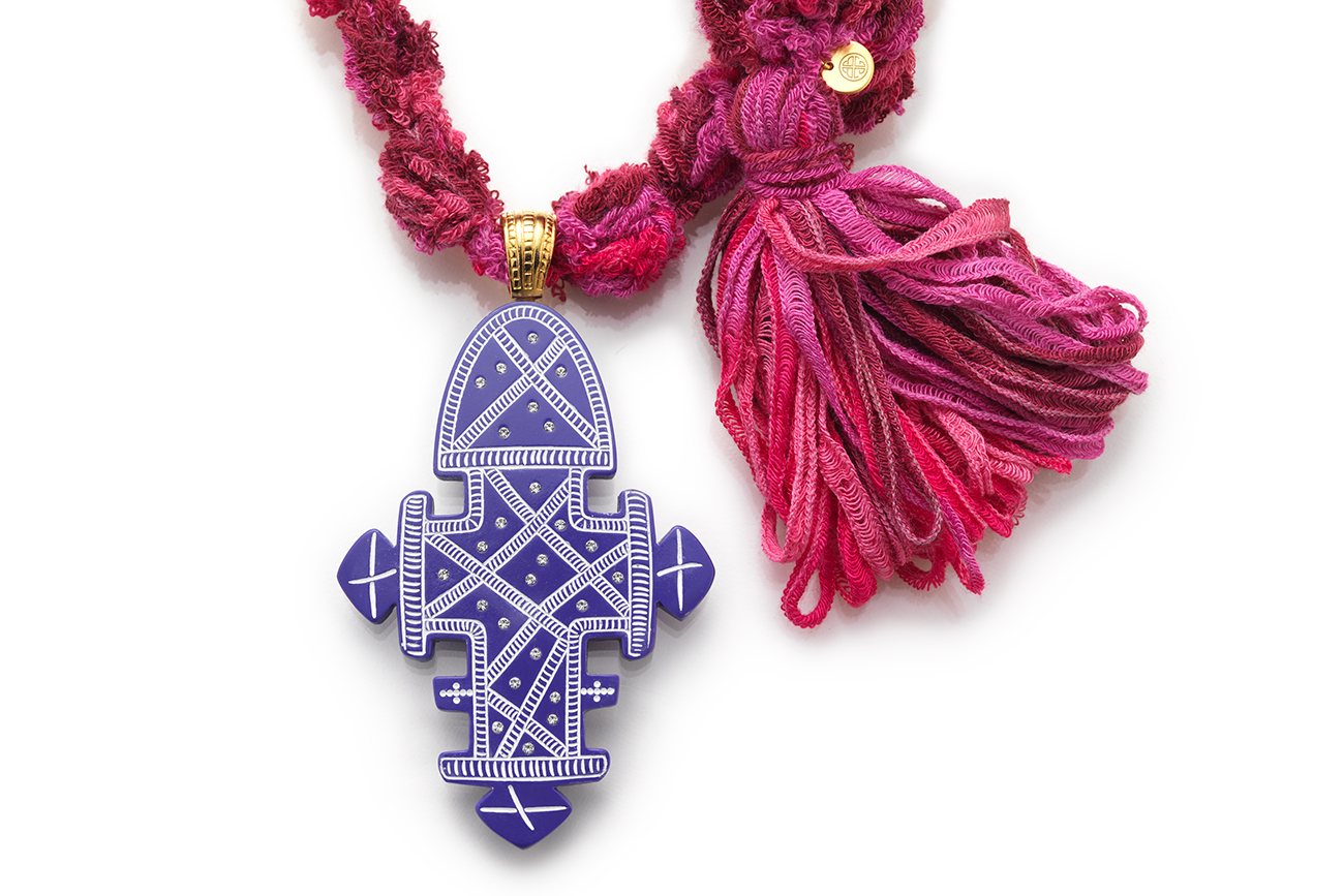 Pink Chenille Knit Rope Necklace with Purple Ethiopian Cross